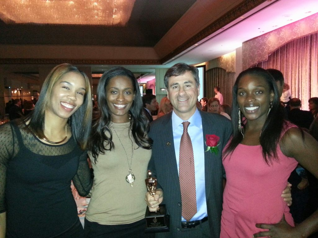 (L to R) Tamera Young, Swin Cash, Michael Alter, Michelle Campbell