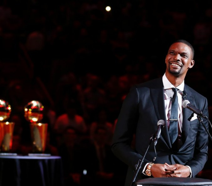 Chris Bosh has Miami Heat No.1 jersey retired, by the way he was really good